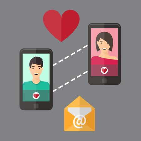 finding love: Internet dating online flirt and relation. Mobile service, application.
