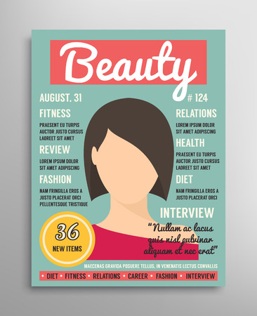 Magazine cover template about beauty, fashion and health for women. Vector illustration Çizim