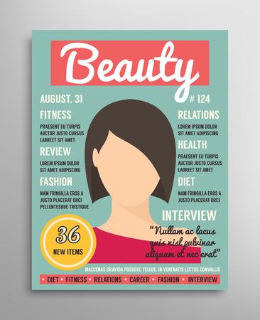 portadas: Plantilla de portada de la revista acerca de la belleza, la moda y la salud de las mujeres. Ilustración vectorial