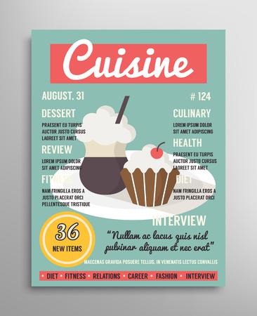 Magazine modèle de couverture. couche blogging alimentaire, une cuisine gastronomique illustration vectorielle Banque d'images - 42139376