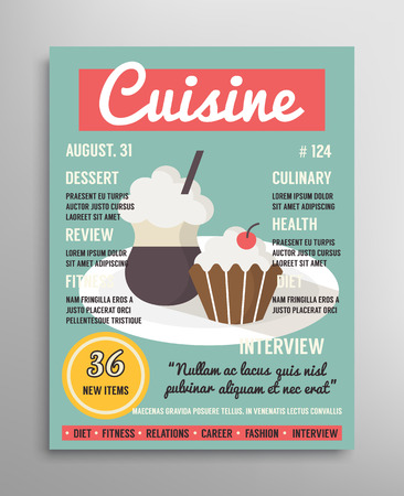 Magazine cover template. Food blogging layer, culinary cuisine vector illustration