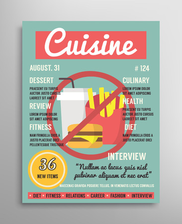 examples: Magazine cover template. Food blogging layer, culinary cuisine vector illustration
