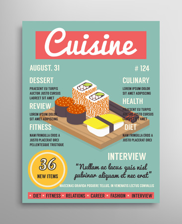 Magazine cover template. Food blogging layer, sushi culinary cuisine vector illustration