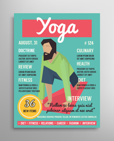 Magazine cover template. Yoga blogging layer, health sport vector illustration