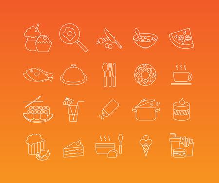 logo de comida: Alimentos y restaurante lineales pictogramas. Vector conjunto de 20 iconos de estilo de línea mono moda Vectores
