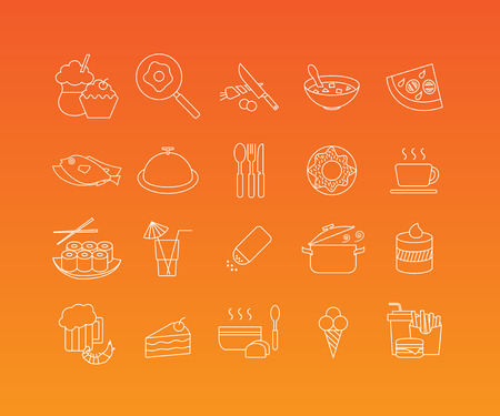 mono: Food and restaurant linear pictograms. Vector set of 20 icons in trendy mono line style Illustration