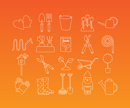 lawn gnome: Gardening and garden equipment linear pictograms. Vector set of 20 icons in trendy mono line style
