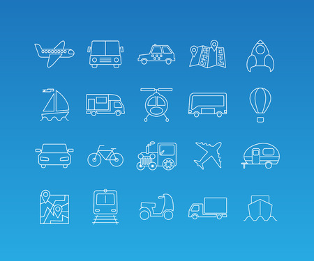 tallship: Transport linear pictograms. Vector set of 20 icons in trendy mono line style