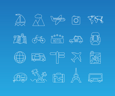 Travel and tourism rest vacation linear pictograms. Vector set of 20 icons in trendy mono line style