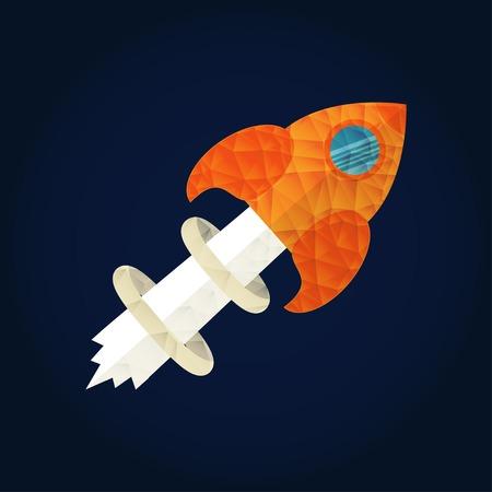 start up: Start up concept for new business, ideas, innovation and development. Rocket in flat design vector illustration