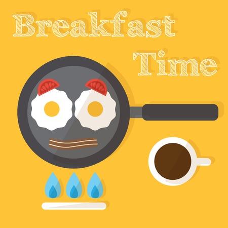 preparing food: Breakfast time. Fried eggs making process, preparing food. Flat design vector Illustration