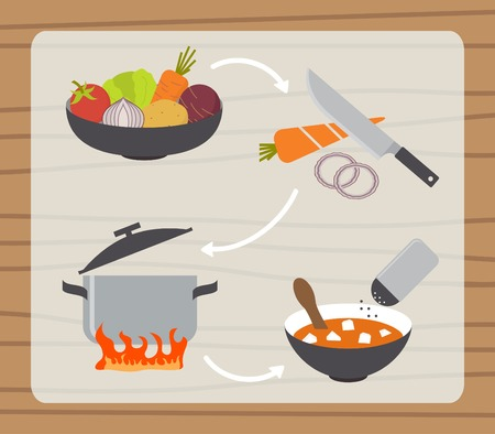 preparing food: Soup borsch making process, preparing food icons set. Flat design vector