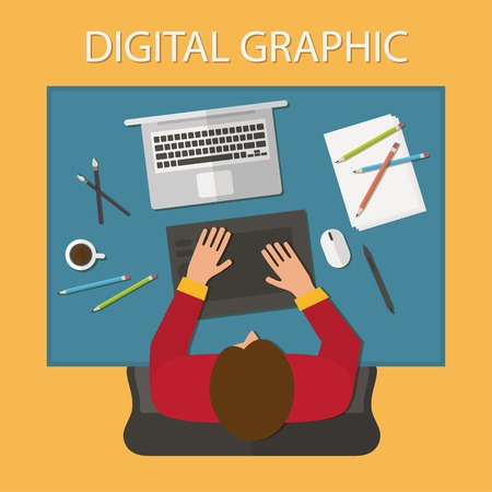 work table: Workplace, office desk. Man working with laptop and digital tablet, top view. Flat design vector illustration