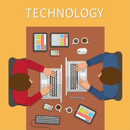 it technology: Workplace, office desk. IT technology and web design. Man working with laptop, digital devices. Illustration