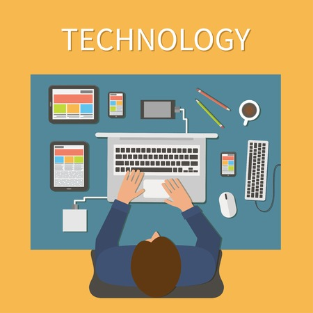 designer working: Workplace, office desk. IT technology and web design. Man working with laptop, digital devices. Illustration
