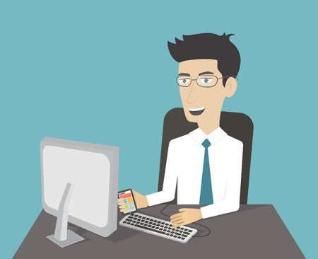 illustrazione uomo: Ufficio posto di lavoro. Uomo di affari che lavora al computer. Personaggio dei cartoni animati. Piatto vettore Vettoriali