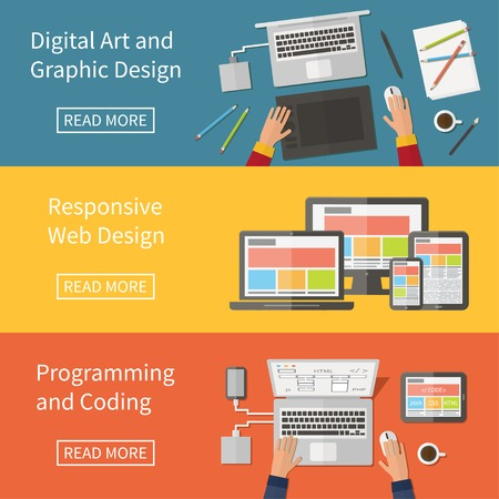 web design banner: Graphic and Web design, website developing, programming, digital art, coding. Freelance occupation. Flat design vector concept