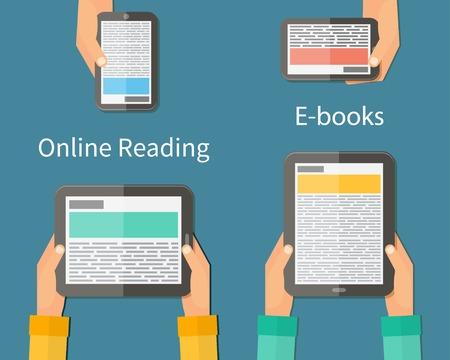 Lecture en ligne et E-book. Les appareils mobiles de concept technologique. Vector illustration