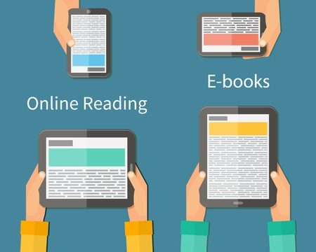reading app: Online reading and E-book. Mobile devices technology concept. Vector illustration