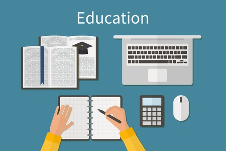 business education: Workplace. Endless education. Training and online study. Business courses.