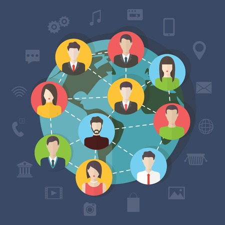 Social media network connection concept with user avatars around the globe. Flat design vector with infographic elements