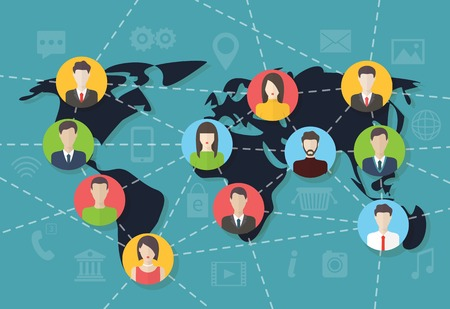 Social media network connection concept with user avatars on the map. Flat design vector with infographic elements Illustration