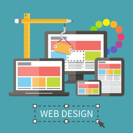 web template: Responsive web design, application development and page construction. Flat style vector illustration.