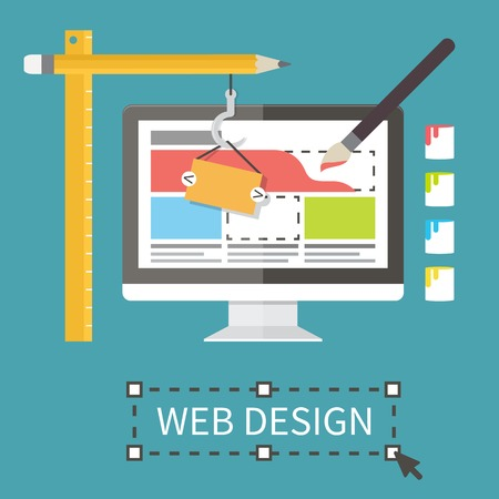 website design: Responsive web design, application development and page construction. Flat style vector illustration.