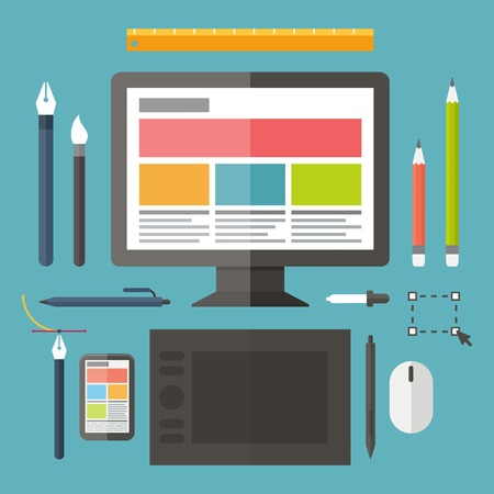 design tools: Web and graphic design, tools, tablet, painting objects. Vector concept