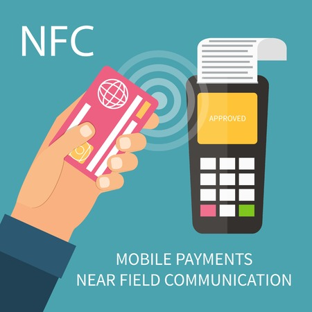 Payments using terminal and debit credit card, near field communication technology, online banking. Flat design vector. Vectores
