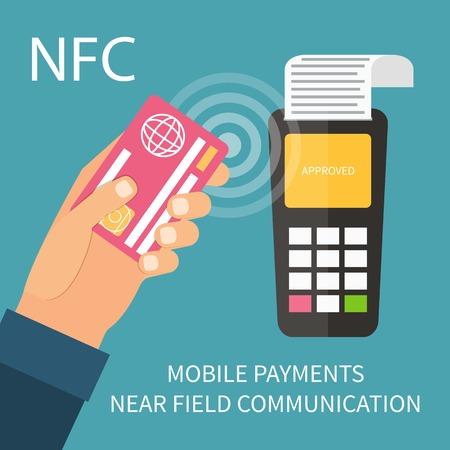 credit card: Los pagos utilizando terminal y de crédito tarjeta de débito, cerca de la tecnología de comunicación de campo, la banca en línea. Vector Diseño plano.