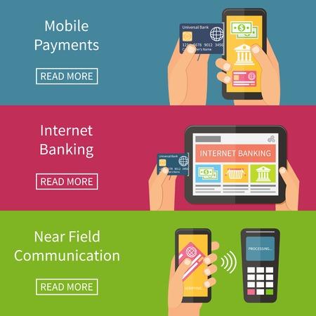 wifi internet: Banca por Internet, pagos m�viles y la tecnolog�a NFC. Ilustraci�n vectorial Flat