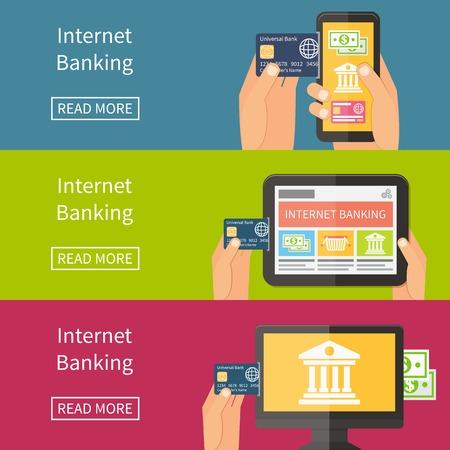Internet banking, online purchasing and transaction. Flat vector banner illustration