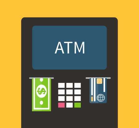 automatic: ATM terminal and credit card, cash, bank service. Flat design vector.