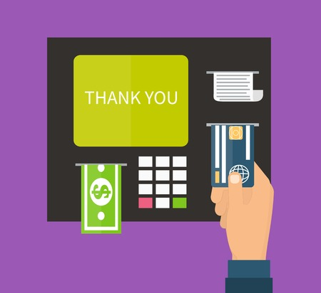 ATM terminal and credit card, cash, bank service. Flat design vector.