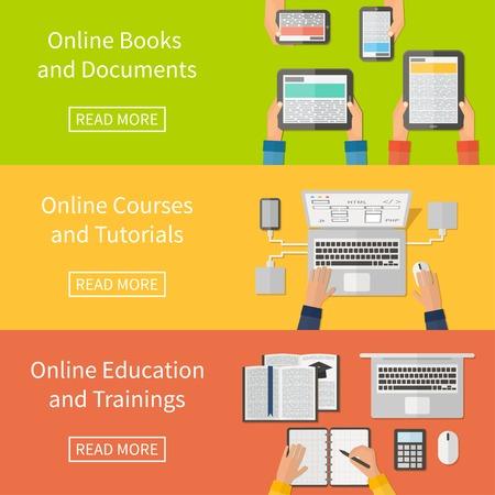 curso de capacitacion: La educación en línea, cursos de capacitación en línea y tutoriales, libros electrónicos. Los dispositivos digitales, ordenador portátil. Banderas diseño plano. Vectores