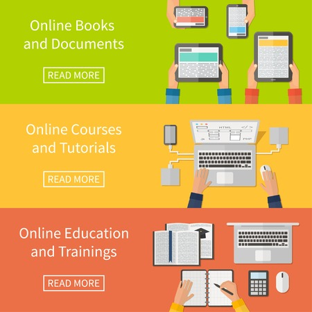 internet education: Online education, online training courses and tutorials, e-books. Digital devices, laptop. Flat design banners.