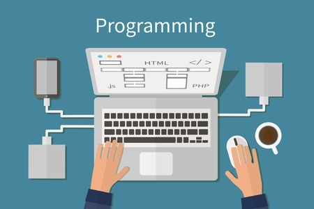 Programming and coding, website deveopment, web design. Flat vector illustration Çizim
