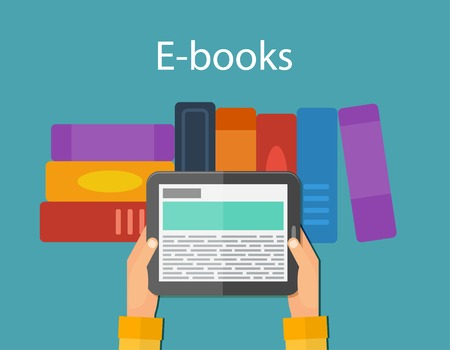 Online reading and E-book, education. Mobile devices technology concept. Vector illustration
