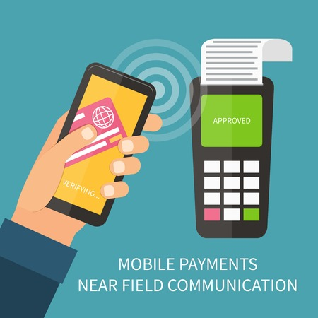 Mobile payment using smartphone, near field communication technology, online banking. Flat design vector. Vectores