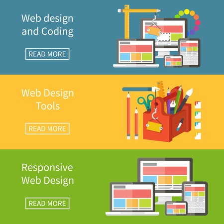 Responsive web design, application development and page construction. Flat style vector banner illustration. 일러스트