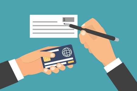 Hands holding card, signing bank check. Paying options. Flat design vector illustration