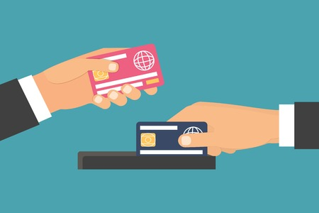 paying: Hands holding money, plastic card. Purchasing and Paying. Flat design vector illustration