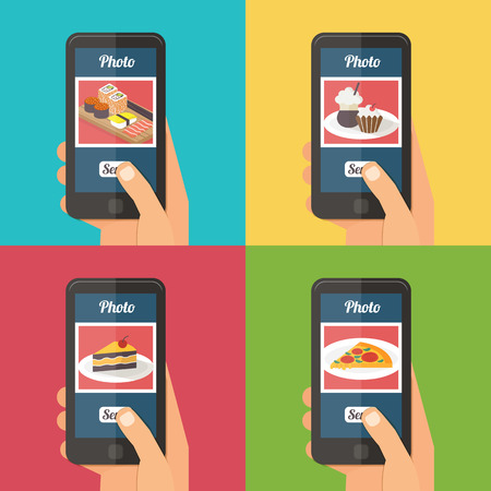 People taking picture photo of food in restaurant with smartphone, sharing in social network selfie shot flat vector illustration
