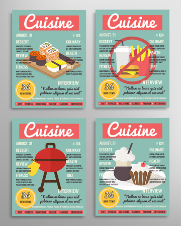 culinary: Magazine cover template set. Food blogging brochure layer, culinary cuisine vector illustration Illustration