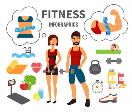 perfect body: Fitness infographic. Athlete man and woman training in gym dreaming about perfect body. Sport Flat Vector Icons.
