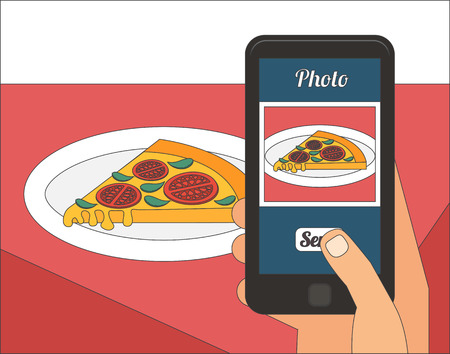 taking picture: People taking picture photo of their food in restaurant with smartphone, selfie shot flat vector illustration Illustration