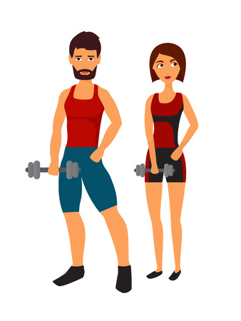 personal trainer: Athlete man and woman training in gym, personal fitness trainer. Flat design vector illustration