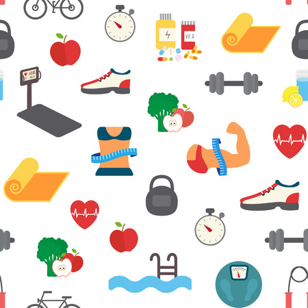 Fitness infographic. Athlete man and woman training in gym dreaming about perfect body. Sport Flat Vector Icons.