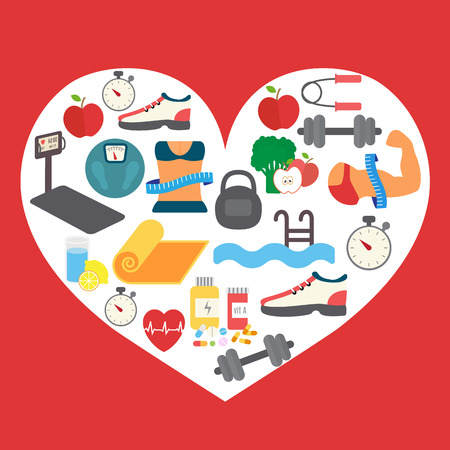 Fitness icons in heart shape background. Vector illustration